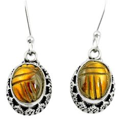Natural brown tiger's eye 925 sterling silver dangle earrings m62907