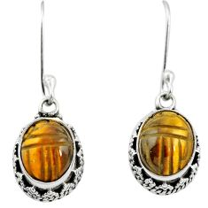 925 sterling silver natural brown tiger's eye dangle earrings jewelry m62909