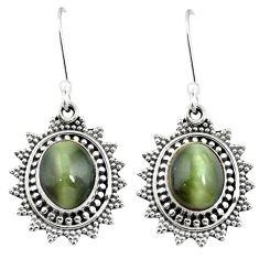 Green cats eye 925 sterling silver dangle earrings jewelry m62911