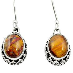 Natural brown pietersite (african) 925 silver dangle earrings jewelry m62926