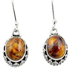 Natural brown pietersite (african) 925 silver dangle earrings jewelry m62927
