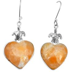 Natural yellow calcite 925 sterling silver tortoise heart earrings m63942