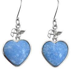 925 sterling silver natural blue angelite dangle heart earrings m63951