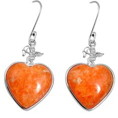 Natural yellow calcite 925 sterling silver dangle heart earrings m63952