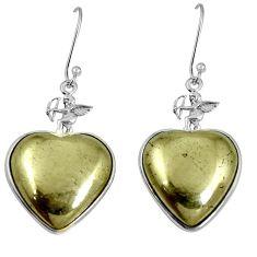 Golden pyrite in magnetite (healer's gold) 925 silver dangle earrings m63956