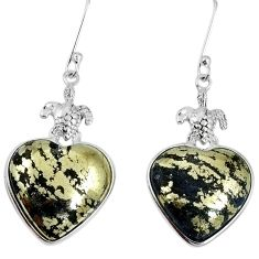 Golden pyrite in magnetite (healer's gold) 925 silver dangle earrings m63959
