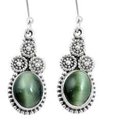 Green cats eye 925 sterling silver dangle earrings jewelry m64157