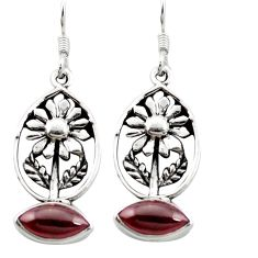Natural red garnet 925 sterling silver flower earrings jewelry m64201