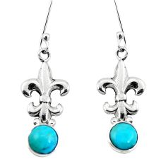 Blue arizona mohave turquoise 925 sterling silver dangle earrings m64276