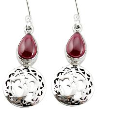 925 sterling silver natural red garnet dangle om earrings jewelry m64290