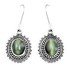 Green cats eye 925 sterling silver dangle earrings jewelry m64321