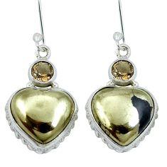 Golden pyrite in magnetite (healer's gold) 925 silver dangle earrings m64341
