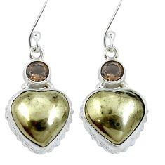 Golden pyrite in magnetite (healer's gold) 925 silver dangle earrings m64344