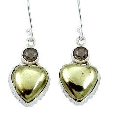 Golden pyrite in magnetite (healer's gold) 925 silver dangle earrings m64345