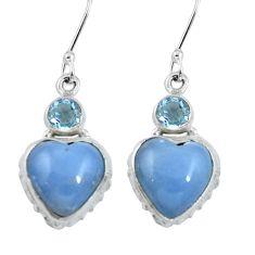 Natural blue angelite heart topaz 925 sterling silver dangle earrings m64348