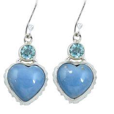 Natural blue angelite heart topaz 925 sterling silver dangle earrings m64353