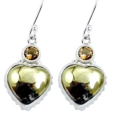 Golden pyrite in magnetite (healer's gold) 925 silver dangle earrings m64354