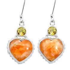Natural orange calcite heart citrine 925 silver dangle earrings m64358