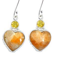 925 silver natural orange calcite heart yellow citrine dangle earrings m64359