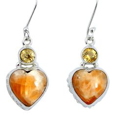 Natural orange calcite heart citrine 925 silver dangle earrings m64360