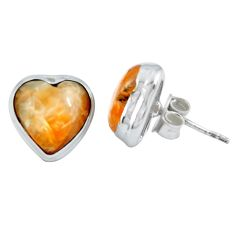 Natural orange calcite heart 925 sterling silver stud earrings jewelry m64362