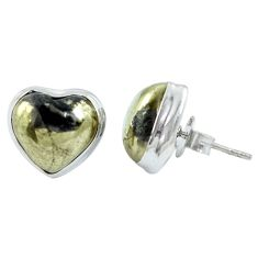 Golden pyrite in magnetite (healer's gold) heart 925 silver stud earrings m64363