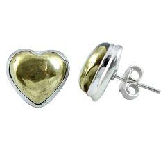 Golden pyrite in magnetite (healer's gold) heart 925 silver stud earrings m64374
