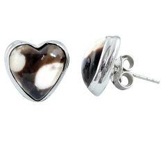 925 silver natural brown peanut petrified wood fossil heart stud earrings m64376