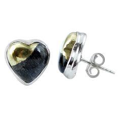 Golden pyrite in magnetite (healer's gold) heart 925 silver stud earrings m64377