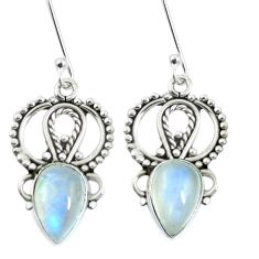 Natural rainbow moonstone 925 sterling silver dangle earrings m65195