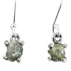 1.84cts natural diamond rough 925 sterling silver dangle earrings jewelry m68004