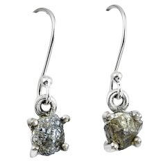 1.85cts natural diamond rough 925 sterling silver dangle earrings jewelry m68020