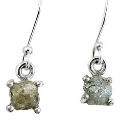 1.81cts natural diamond rough 925 sterling silver dangle earrings jewelry m68026