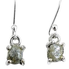 1.84cts natural diamond rough 925 sterling silver dangle earrings jewelry m68027