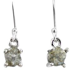 2.03cts natural diamond rough 925 sterling silver dangle earrings jewelry m68052