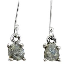 1.90cts natural diamond rough 925 sterling silver dangle earrings jewelry m68058