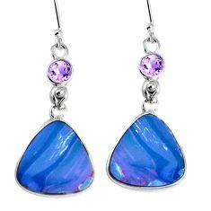 Natural blue doublet opal australian 925 silver dangle earrings m68701