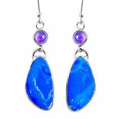 925 silver natural blue doublet opal australian dangle earrings m68705