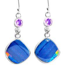 Natural blue doublet opal australian 925 silver dangle earrings m68716