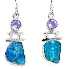 Natural blue apatite rough amethyst 925 silver dangle earrings m68841