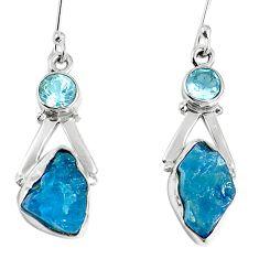 Natural blue apatite rough topaz 925 silver dangle earrings m68843
