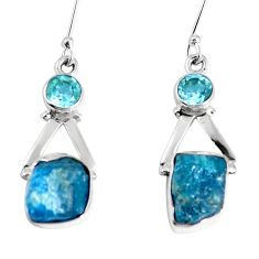 Natural blue apatite rough topaz 925 silver dangle earrings m68845