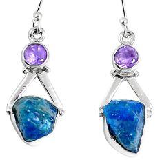 Natural blue apatite rough amethyst 925 silver dangle earrings m68847