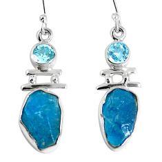 Natural blue apatite rough topaz 925 silver dangle earrings m68849