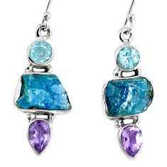 925 silver natural blue apatite rough amethyst dangle earrings jewelry m68850