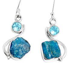 Natural blue apatite rough topaz 925 silver dangle earrings m68853