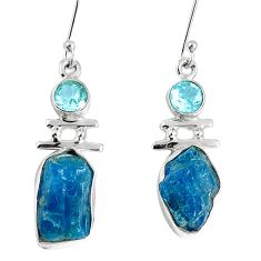 Natural blue apatite rough topaz 925 silver dangle earrings m68858