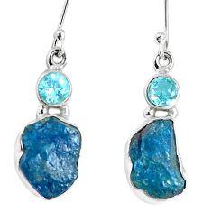 Natural blue apatite rough topaz 925 silver dangle earrings m68859