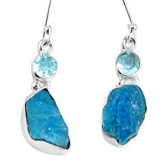 925 silver natural blue apatite rough topaz dangle earrings jewelry m68860