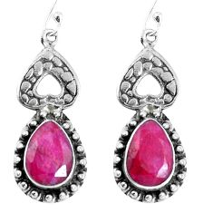 Natural red ruby 925 sterling silver dangle earrings jewelry m68955
